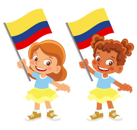 Colombia flag in hand set 矢量图像