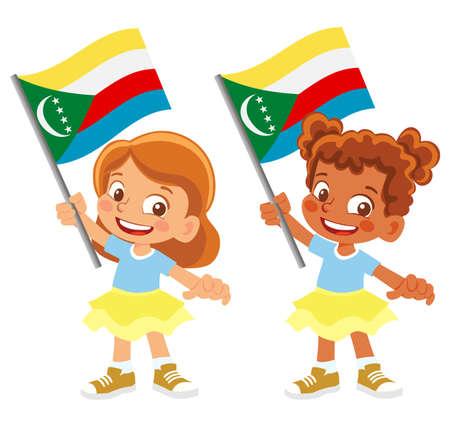 Comoros flag in hand set 矢量图像