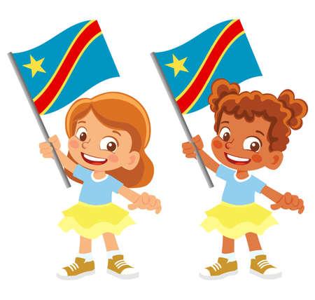 Democratic Republic of the Congo flag in hand set