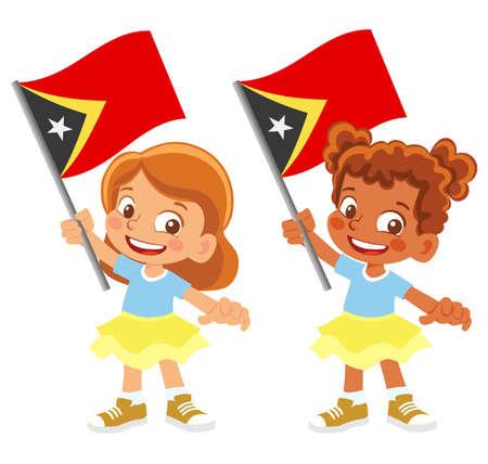 East Timor flag in hand set