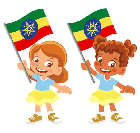 Ethiopia flag in hand set