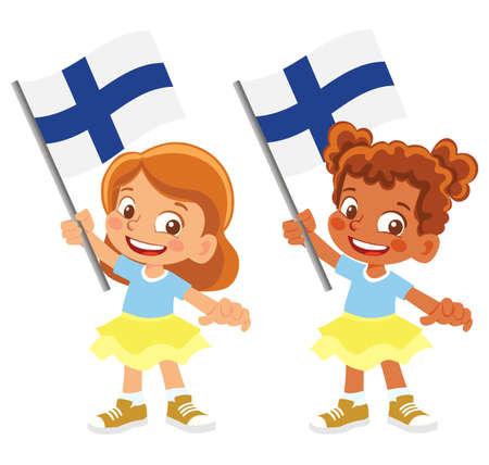 Finland flag in hand set 矢量图像
