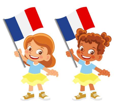 France flag in hand set 矢量图像