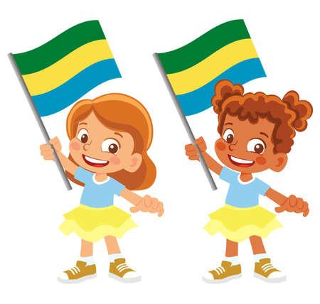 Gabon flag in hand set