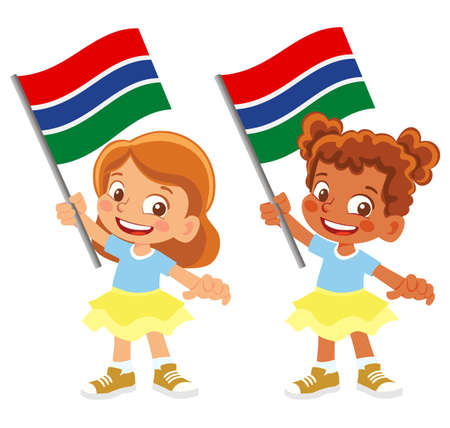 Gambia flag in hand set 矢量图像