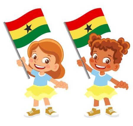 Ghana flag in hand set 矢量图像