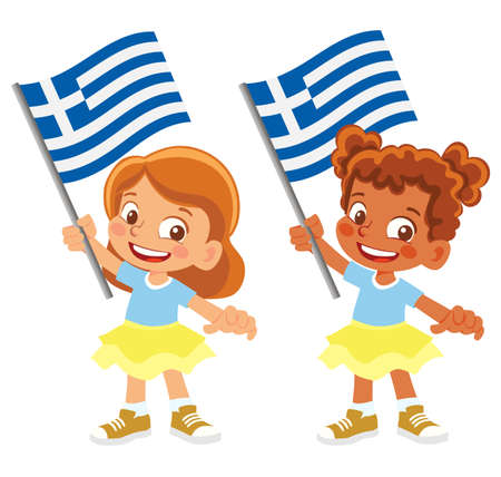 Greece flag in hand set 矢量图像