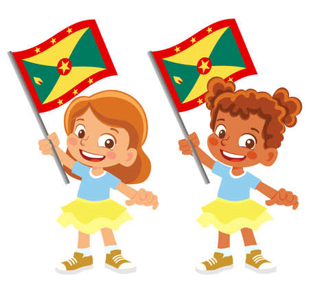 Grenada flag in hand set 矢量图像