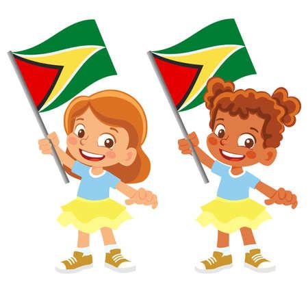 Guyana flag in hand set