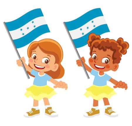 Honduras flag in hand set