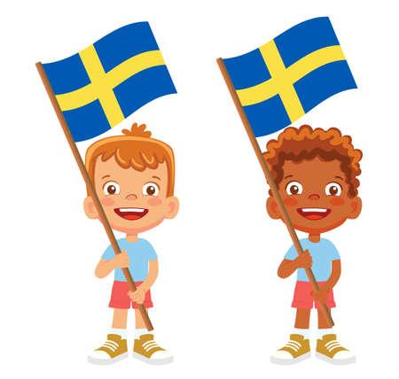 Sweden flag in hand. Children holding flag. National flag of Sweden vector Vetores