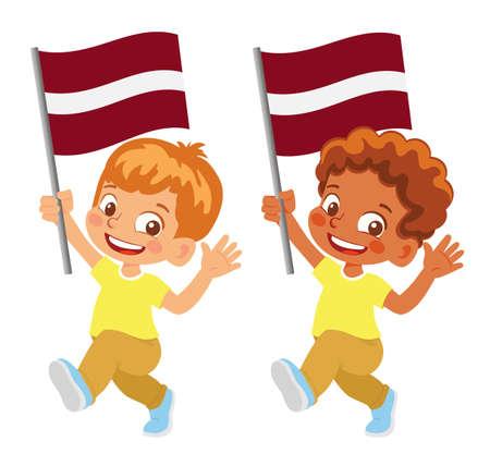 latvia flag in hand. Children holding flag. National flag of latvia vector