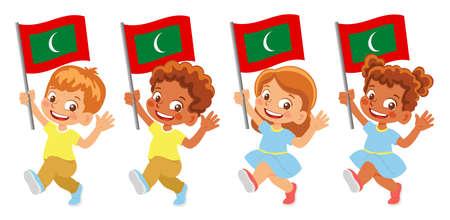 Maldives flag in hand set