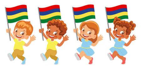 Mauritius flag in hand set