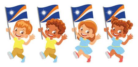 Marshall Islands flag in hand set Иллюстрация