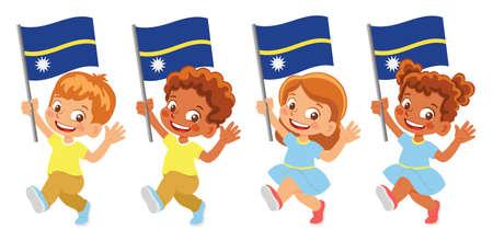 Nauru flag in hand set