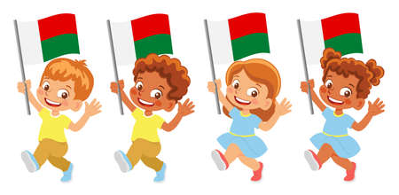 Madagascar flag in hand set Иллюстрация
