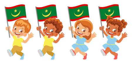 Mauritania flag in hand set Иллюстрация