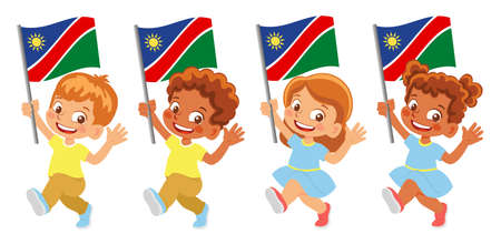 Namibia flag in hand set