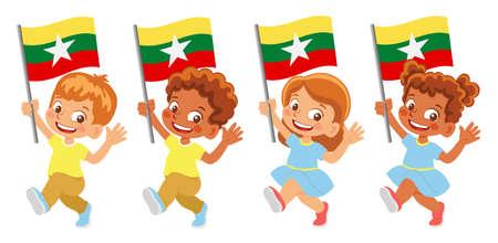 Myanmar flag in hand set 矢量图像