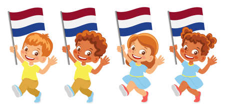 netherlands flag in hand set