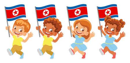 North Korea flag in hand set