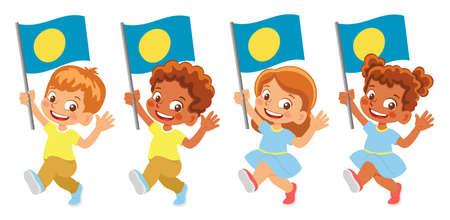 Palau flag in hand set 矢量图像