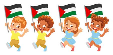 palestine flag in hand set 矢量图像