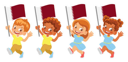 Qatar flag in hand set 矢量图像