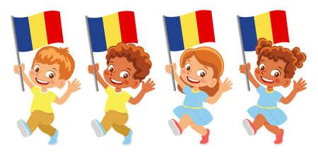 Romania flag in hand set