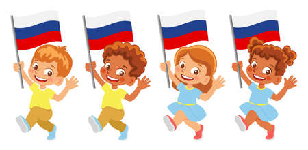 russia flag in hand set