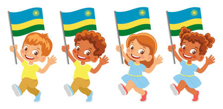 Rwanda flag in hand set 矢量图像