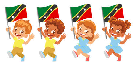 Saint Kitts and Nevis flag in hand set