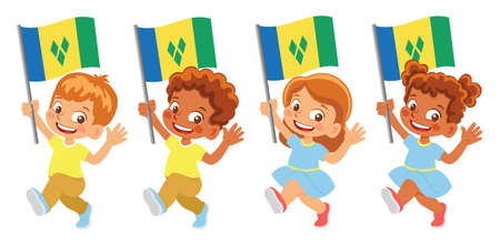 Saint Vincent and the Grenadines flag in hand set