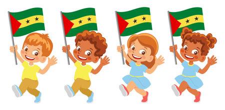 Sao Tome and Principe flag in hand set Иллюстрация