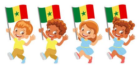 Senegal flag in hand set Иллюстрация