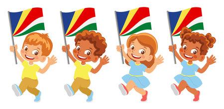 Seychelles flag in hand set