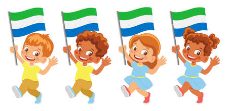 sierra leone flag in hand set Иллюстрация