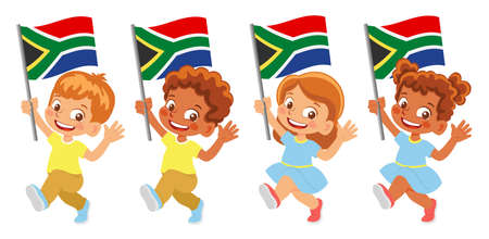 South Africa flag in hand set