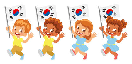 south korea flag in hand set