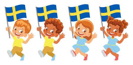 Sweden flag in hand set Иллюстрация