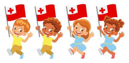 Tonga flag in hand set