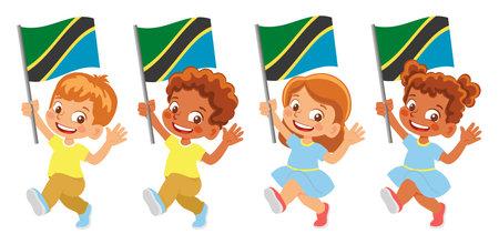 Tanzania flag in hand set Иллюстрация