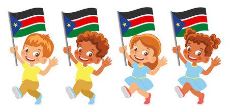 South Sudan flag in hand set