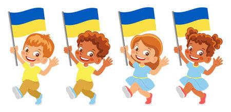 Ukraine flag in hand set