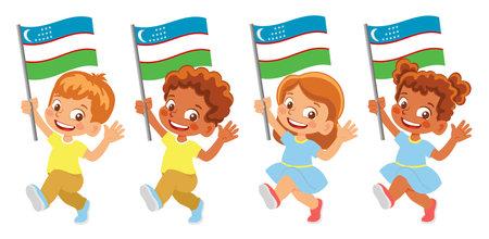 Uzbekistan flag in hand set