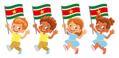 Suriname flag in hand set
