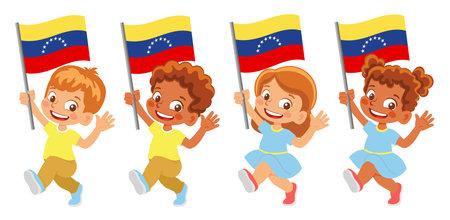 venezuela flag in hand set Иллюстрация