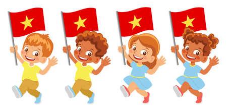 Vietnam flag in hand set Ilustracja