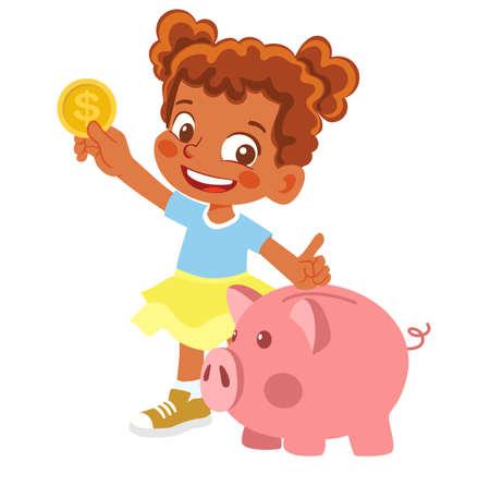 African American Girl holding piggy bank and money Ilustración de vector